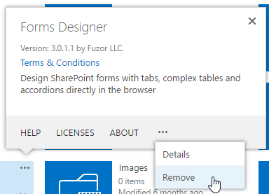 Remove app from SharePoint Online