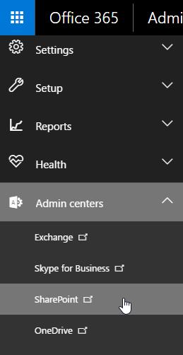 SharePoint admin center