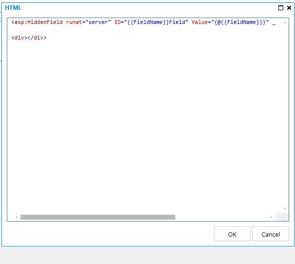 Custom Template Kendo Inline HTML