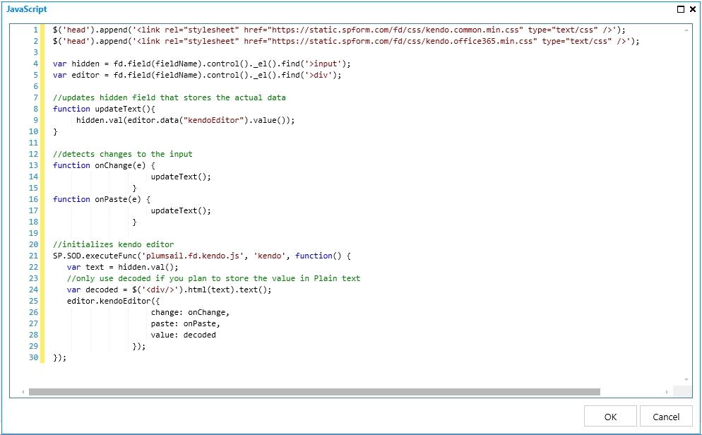 Custom Template Kendo Inline JS